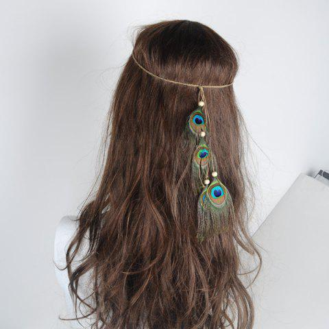 New Peacock Feather Indian Hair Accessory - GREEN  Mobile