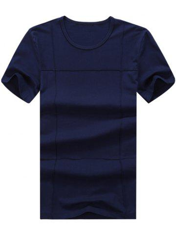 Outfits Textured Short Sleeve Tee PURPLISH BLUE XL
