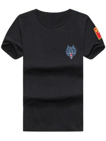 Fashion Wolf and Chinese Flag Embroidered Tee BLACK XL