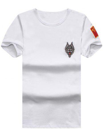 Fashion Wolf and Chinese Flag Embroidered Tee WHITE 2XL