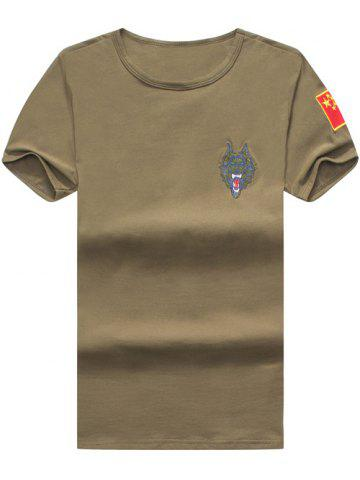 Hot Wolf and Chinese Flag Embroidered Tee ARMY GREEN 2XL