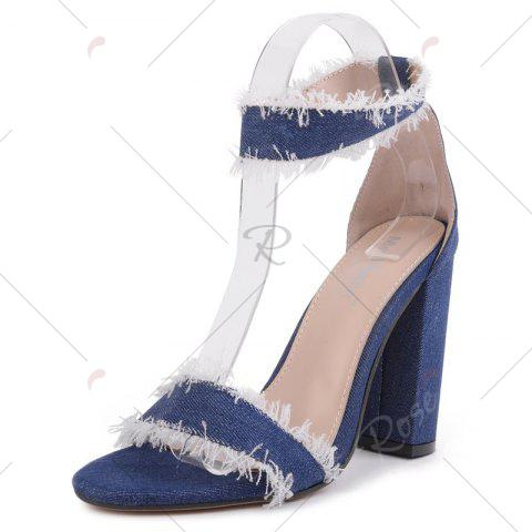 Best Ankle Strap Block Heel Denim Sandals - 37 DENIM BLUE Mobile