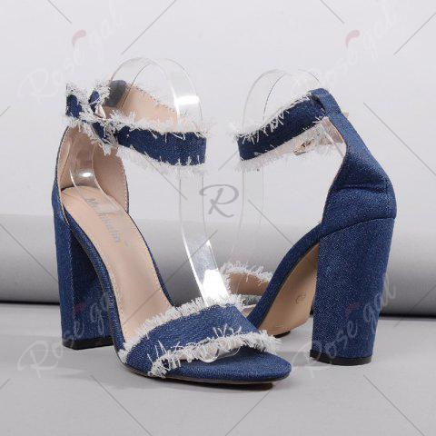 Buy Ankle Strap Block Heel Denim Sandals - 37 DENIM BLUE Mobile