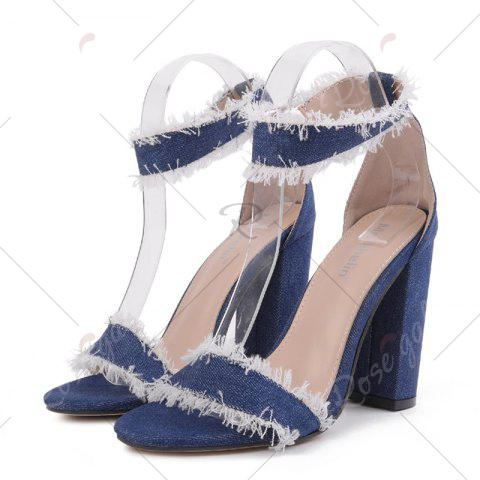 Hot Ankle Strap Block Heel Denim Sandals - 37 DENIM BLUE Mobile