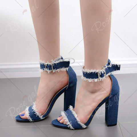 New Ankle Strap Block Heel Denim Sandals - 37 DENIM BLUE Mobile