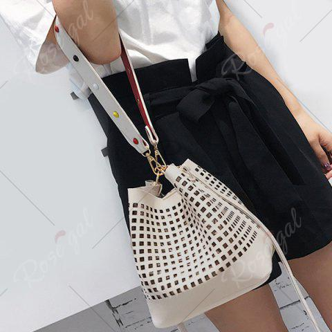 Chic Hollow Out Bucket Bag with Beaded Strap - WHITE  Mobile