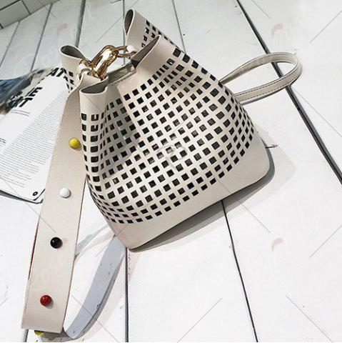 Discount Hollow Out Bucket Bag with Beaded Strap - WHITE  Mobile