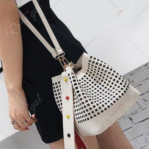 Sale Hollow Out Bucket Bag with Beaded Strap - WHITE  Mobile