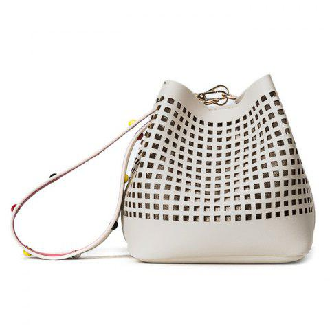 Shop Hollow Out Bucket Bag with Beaded Strap - WHITE  Mobile