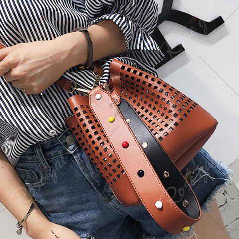 Discount Hollow Out Bucket Bag with Beaded Strap - BROWN  Mobile