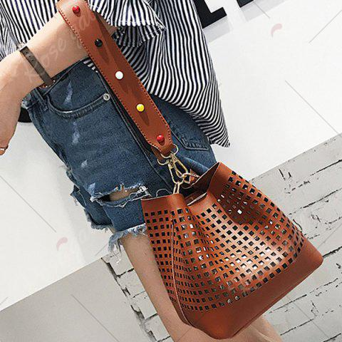 Outfits Hollow Out Bucket Bag with Beaded Strap - BROWN  Mobile