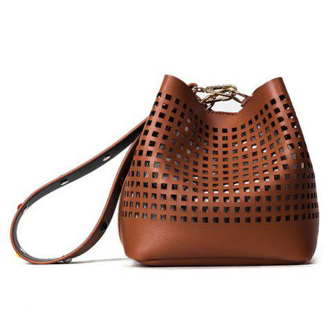 Chic Hollow Out Bucket Bag with Beaded Strap - BROWN  Mobile