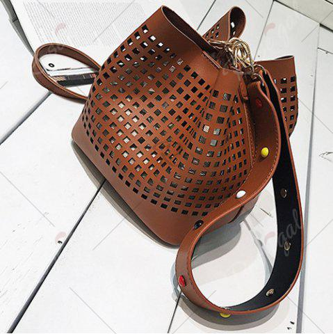 Fancy Hollow Out Bucket Bag with Beaded Strap - BROWN  Mobile