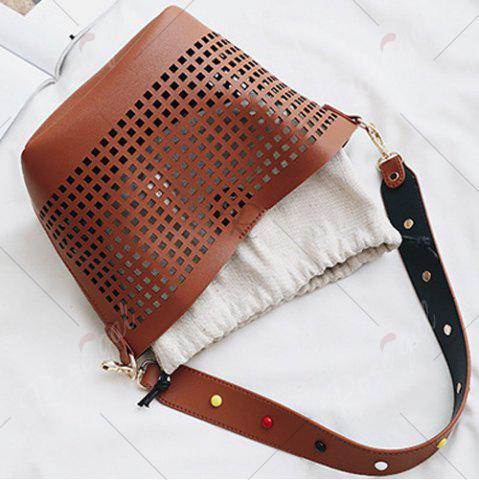 Cheap Hollow Out Bucket Bag with Beaded Strap - BROWN  Mobile