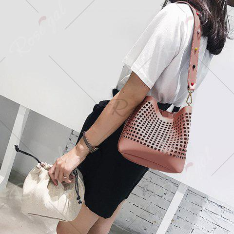 Fancy Hollow Out Bucket Bag with Beaded Strap - PINK  Mobile