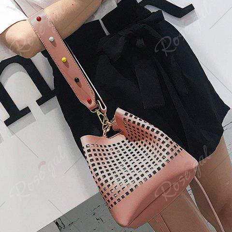 Store Hollow Out Bucket Bag with Beaded Strap - PINK  Mobile