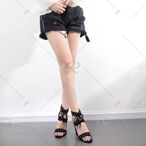 Latest Tie Up Studded Chunky Heel Sandals - 37 BLACK Mobile