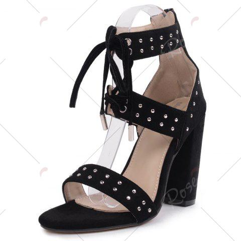Cheap Tie Up Studded Chunky Heel Sandals - 37 BLACK Mobile