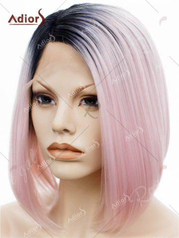 Affordable Adiors Short Colormix Side Part Straight Bob Lace Front Synthetic Wig - PINK  Mobile
