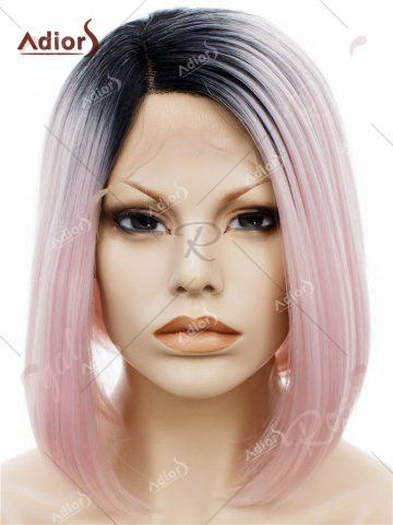 Chic Adiors Short Colormix Side Part Straight Bob Lace Front Synthetic Wig - PINK  Mobile