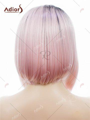 Fancy Adiors Short Colormix Side Part Straight Bob Lace Front Synthetic Wig - PINK  Mobile