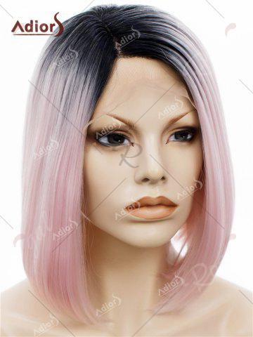 Latest Adiors Short Colormix Side Part Straight Bob Lace Front Synthetic Wig - PINK  Mobile