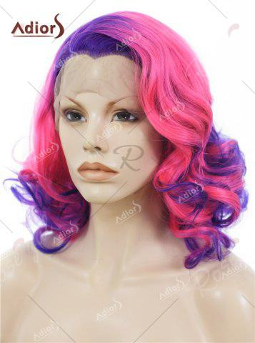 Sale Adiors Medium Colormix Side Swept Bang Curly Lace Front Synthetic Wig - BLUE AND PINK  Mobile