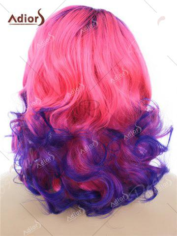 Online Adiors Medium Colormix Side Swept Bang Curly Lace Front Synthetic Wig - BLUE AND PINK  Mobile