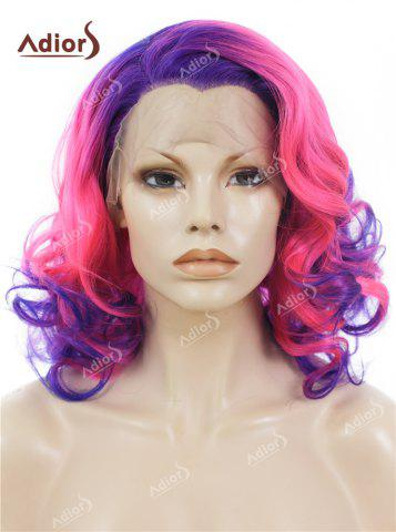 Fashion Adiors Medium Colormix Side Swept Bang Curly Lace Front Synthetic Wig - BLUE AND PINK  Mobile