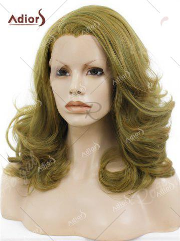 Discount Adiors Medium Colormix Side Swept Bang Curly Lace Front Synthetic Wig - GINGER  Mobile