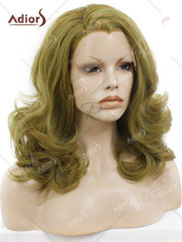 Online Adiors Medium Colormix Side Swept Bang Curly Lace Front Synthetic Wig - GINGER  Mobile