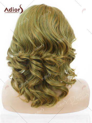 Affordable Adiors Medium Colormix Side Swept Bang Curly Lace Front Synthetic Wig - GINGER  Mobile
