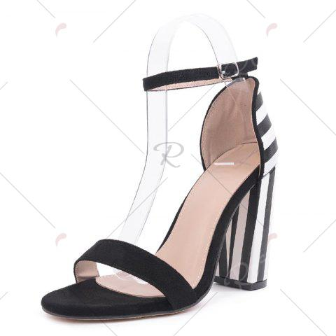 Buy Ankle Strap Striped Pattern Sandals - 39 BLACK WHITE Mobile