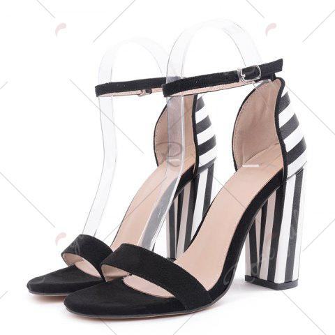 Discount Ankle Strap Striped Pattern Sandals - 39 BLACK WHITE Mobile