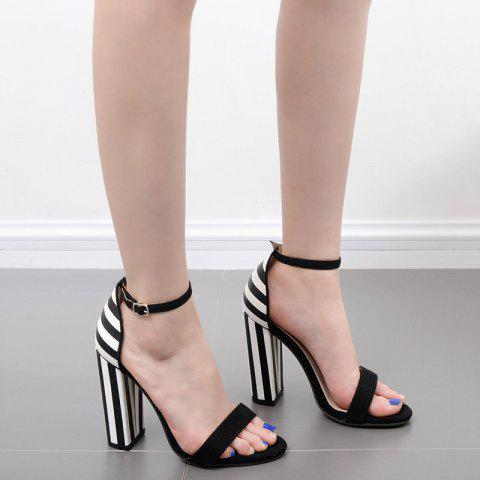 Hot Ankle Strap Striped Pattern Sandals - 39 BLACK WHITE Mobile
