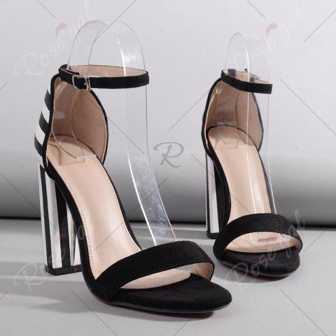 Chic Ankle Strap Striped Pattern Sandals - 39 BLACK WHITE Mobile