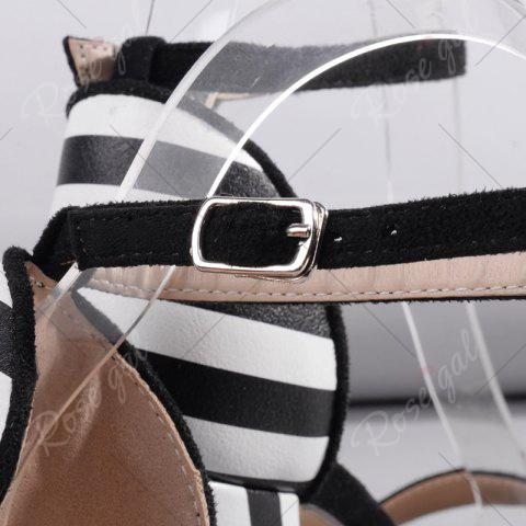 Best Ankle Strap Striped Pattern Sandals - 39 BLACK WHITE Mobile