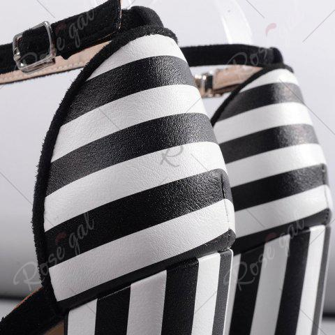 Cheap Ankle Strap Striped Pattern Sandals - 39 BLACK WHITE Mobile