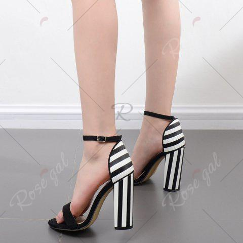 Chic Ankle Strap Striped Pattern Sandals - 40 BLACK WHITE Mobile