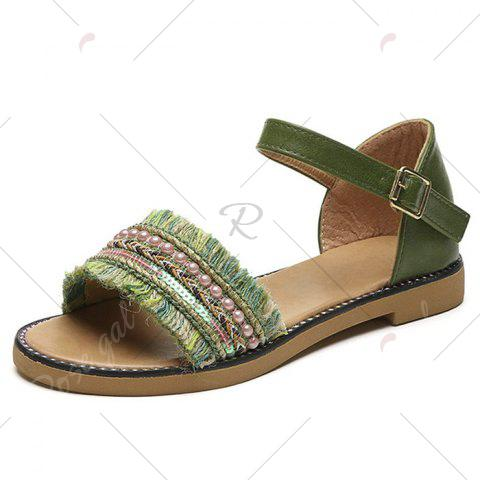 Chic Bohemian Beaded Fringed Flat Sandals - 37 GREEN Mobile