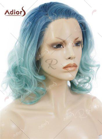Store Adiors Medium Colormix Side Swept Bang Curly Lace Front Synthetic Wig - AZURE  Mobile