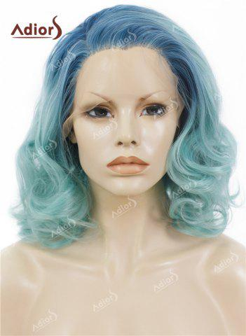 Online Adiors Medium Colormix Side Swept Bang Curly Lace Front Synthetic Wig - AZURE  Mobile