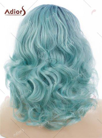 Hot Adiors Medium Colormix Side Swept Bang Curly Lace Front Synthetic Wig - AZURE  Mobile