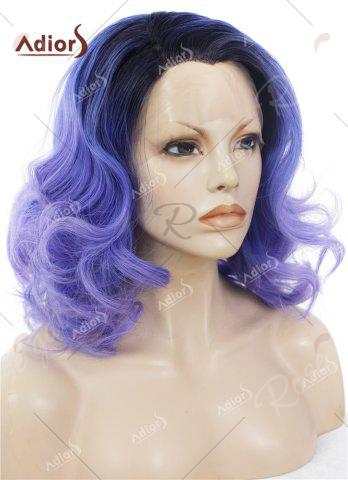 Outfit Adiors Medium Colormix Side Swept Bang Curly Lace Front Synthetic Wig - BLUE  Mobile