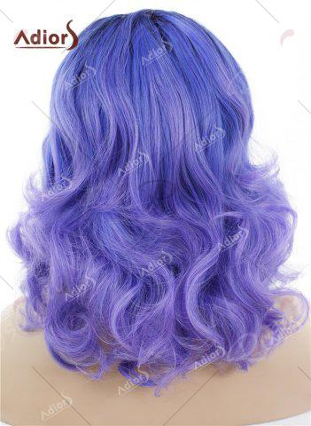 Store Adiors Medium Colormix Side Swept Bang Curly Lace Front Synthetic Wig - BLUE  Mobile