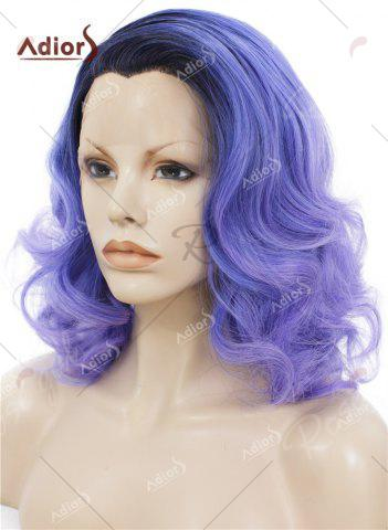 New Adiors Medium Colormix Side Swept Bang Curly Lace Front Synthetic Wig - BLUE  Mobile
