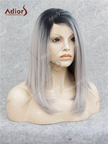 Unique Adiors Medium Side Bang Straight Bob Colormix Lace Front Synthetic Wig - BLACK AND GREY  Mobile