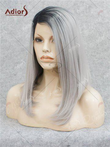 Fashion Adiors Medium Side Bang Straight Bob Colormix Lace Front Synthetic Wig - BLACK AND GREY  Mobile