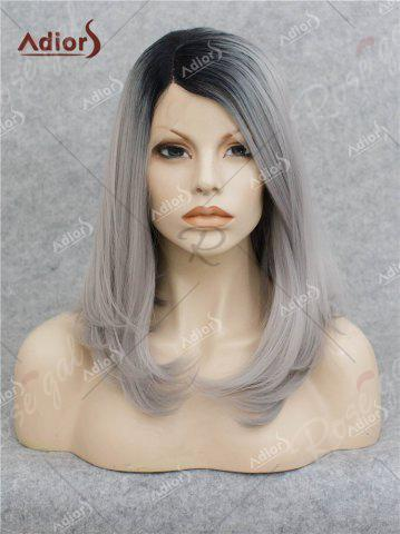 Store Adiors Medium Side Bang Straight Bob Colormix Lace Front Synthetic Wig - BLACK AND GREY  Mobile