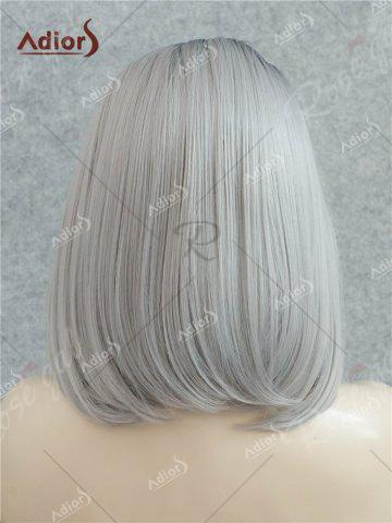 Latest Adiors Medium Side Bang Straight Bob Colormix Lace Front Synthetic Wig - BLACK AND GREY  Mobile